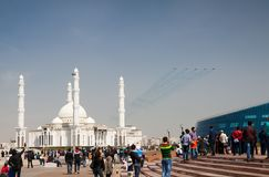 Military airplanes fly near Hazrat Sultan Mosque Royalty Free Stock Photography