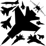 Military Airplanes Silhouettes Vector 01. Military Fighter Airplanes Base Face Perspective Silhouettes Stock Images