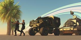 Military on Alien Planet Stock Photo