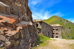 Military alpine fort in Alps, Italy. Royalty Free Stock Photography