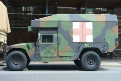 Military Ambulance. A military ambulance parked outside the Lexington Avenue Armory, in New York City stock images