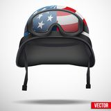 Military American helmet and goggles vector Royalty Free Stock Images