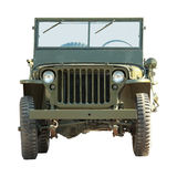 Military american vehicle. Front of old military american off-road vehicle isolated on a white background royalty free stock images