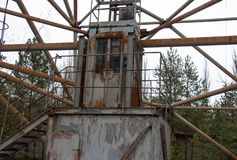 Military antenna is in the Chernobyl exclusion zone stock photo