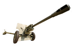 Military anti-aircraft gun on an isolated Royalty Free Stock Photos