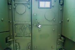 Military armed vehicle door. Detail stock image