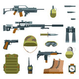 Military armor and weapon guns icons flat set Stock Photography