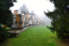 Military armored train in the fog Royalty Free Stock Photo