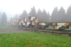 Military armored train in the fog Royalty Free Stock Photography