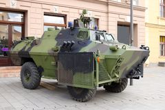 Military armored vehicle. On the street royalty free stock photography