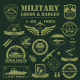 Military and armored vehicles logos and badges. Graphic template Royalty Free Stock Photo