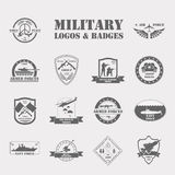Military and armored vehicles logos and badges. Graphic template Royalty Free Stock Photos