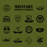 Military and armored vehicles logos and badges. Graphic template Stock Photography