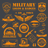 Military and armored vehicles logos and badges. Graphic template Stock Photos