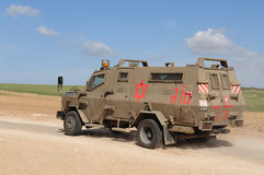 Military Army Ambulance. NIR AM, ISR - DEC 07:An Israeli army ambulance is rushing to evacuate injured soldiers on the Israeli-Gaza border on Tuesday January 27 Royalty Free Stock Photography