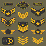 Military army badge set typography. T shirt graphics Royalty Free Stock Photos