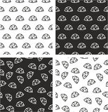 Military or Army or Commandos or Soldier Helmet Aligned & Random Seamless Pattern Set Stock Photo