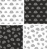 Military or Army or Commandos or Soldier Helmet Big & Small Aligned & Random Seamless Pattern Set Stock Image