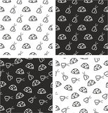 Military or Army or Commandos or Soldier Helmet & Dog Tags Aligned & Random Seamless Pattern Set Stock Image