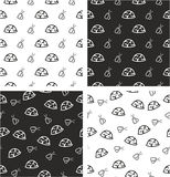 Military or Army or Commandos or Soldier Helmet & Dog Tags Big & Small Aligned & Random Seamless Pattern Set Royalty Free Stock Images
