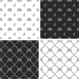Military or Army or Commandos or Soldier Helmet & Dog Tags Big & Small Seamless Pattern Set Stock Photos