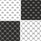 Military or Army or Commandos or Soldier Helmet Seamless Pattern Set Stock Photos