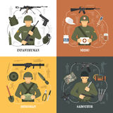 Military Army 4 flat icons Square Royalty Free Stock Photography