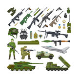 Military army flat icons. Military army USA and NATO flat icons. Ammunition and weapons, helmet and rifle, tank and military plane. Vector illustration royalty free illustration