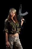 Military Army girl Royalty Free Stock Image