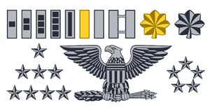 Military Army Insignia Ranks. Set of military American army officer ranks insignia badges icons Stock Photography