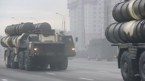 Military army invasion of the city, armored troop-carrier, danger, smoke. Russian army, special car transports Battle Tank stock video