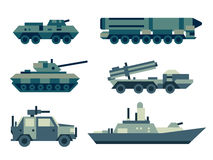 Military army machines technics set. Collection of military machines. Set of army force technics include tank, truck, marine destroyer, armored troop carrier Royalty Free Stock Image