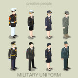 Military army people in uniform flat style isometric icon set. Military army officer commander patrol SWAT people in holiday uniform flat isometric 3d game Stock Photos
