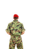 Military army soldier with turned back wearing uniform and cap Stock Photo