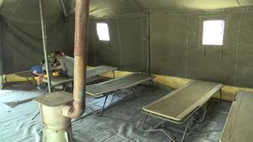 OLOMOUC, CZECH REPUBLIC, MAY 5, 2018: Military army tent with polyethylene PE highly resistant and solid, used in field stock video