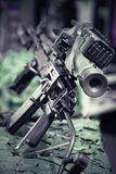 Military assault rifle. View from back of weapon stock photo