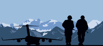 Military aviation base. And two soldiers Stock Image