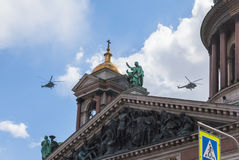 Military aviation parade in St. Petersburg Stock Photography