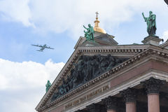 Military aviation parade in St. Petersburg Royalty Free Stock Image