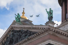 Military aviation parade in St. Petersburg Royalty Free Stock Images