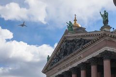 Military aviation parade in St. Petersburg Stock Images