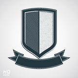 Military award icon. Vector grayscale defense shield with curvy. Ribbon, protection design graphic element. Heraldic illustration on security theme - retro coat vector illustration