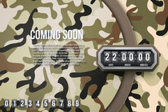 Military Background Coming Soon and countdown timer. Stock Photos