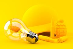 Military background with light bulb vector illustration