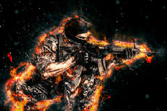 Military Background 6. Modern assassin with fiery graphics Royalty Free Stock Photo