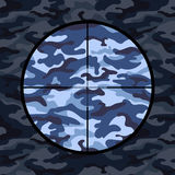 Military background with sniper scope on blue camouflage Stock Photos