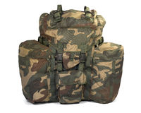 Military backpack on white. Clipping path Royalty Free Stock Photos