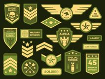 Military badges. American army badge patch or airborne squadron chevron. Badging vector isolated illustration collection stock illustration