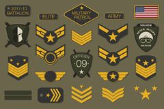 Military badges and army patches typography. Military embroidery chevron and pin design for t-shirt graphic. Vector Stock Photo