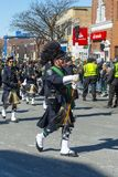 Military Bagpipers in Saint Patrick`s Day parade Boston, USA royalty free stock photography